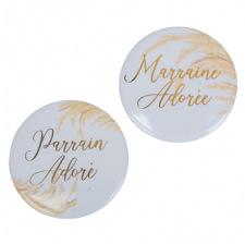 2 Badges jolie pampa Parrain Marraine Or