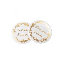 2 Badges Marraine d'Amour/Parrain d'Amour Or