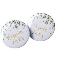 2 Badges Parrain Marraine Végétal & Or