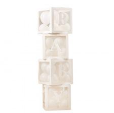 4 Cubes BABY Blanc avec 20 mini ballons
