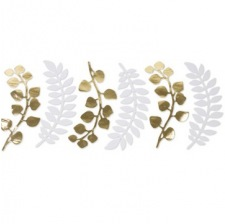 6 Feuilles fougères & Eucalyptus Blanc & Or