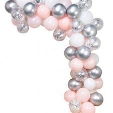 Arche de Ballon Organique Argent & Rose Pastel