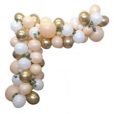 Arche de Ballon Organique Pêche & Or Chromé