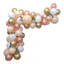 Arche de Ballon Organique Rose Gold, Pêche & Or Chromé