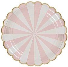 Assiettes carton Rayure Rose & Or Meri Meri (x4)