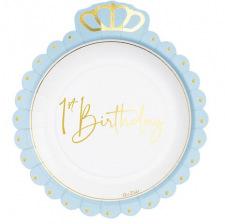 Assiettes en carton 1st Birthday Bleu & Or (x8)
