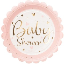 Assiettes en carton Baby Shower Rose & Or (x4)