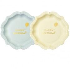 Assiettes en carton Ballon Bleu & Jaune Pastel (x6)