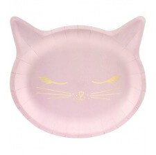 Assiettes en carton Chat Rose & Or (x6)