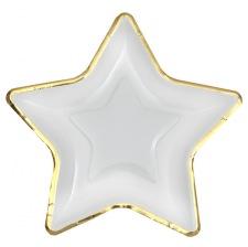 Assiettes en carton Etoile Blanc & Or (x5)
