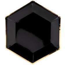 Assiettes en carton Héxagonale Noir & Or (x6)
