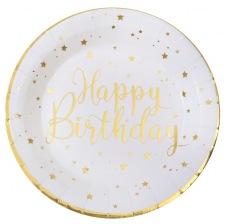 Assiettes en carton Happy Birthday Or (x4)