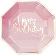 Assiettes en carton Happy Birthday Rose et Or (x8)