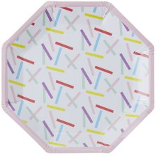 Assiettes en carton Hexagonale Multicolore (x8)