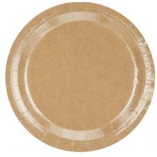 Assiettes en carton Kraft Uni (x6)
