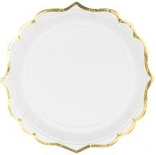 Assiettes en carton Lisière Blanc & Or  (x6)