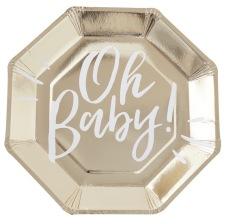 Assiettes en carton Oh Baby Or (x8)