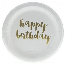 Assiettes en carton Or Happy Birthday (x6)