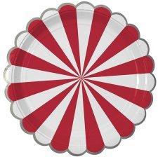 Assiettes en carton Rayure Rouge et Argent (x4)