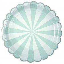 Assiettes en carton Rayures Vert d'Eau (x4)