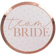 Assiettes en carton Team Bride Rose Gold (x8)