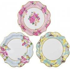 Assiettes en carton Vintage 3 Designs (x6)