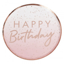 Assiettes Happy Birthday Ombre Rose Gold (x8)