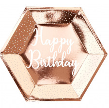 Assiettes Happy Birthday Rose Gold & Pois Blanc (x4)