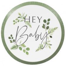 Assiettes Végétal Hey Baby Shower (x8)