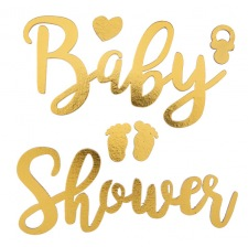 Baby Shower Autocollants Bois Or