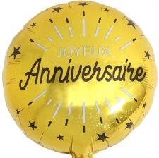 Ballon Aluminium Joyeux Anniversaire Noir & Or