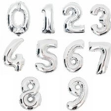 Ballon Mylar Aluminium Chiffre Argent 35 cm - A CHOISIR (VENDU A L'UNITE)