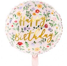 Ballon Mylar Aluminium Happy Birthday Floral