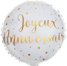 Ballon Mylar Aluminium Joyeux Anniversaire Blanc & Or