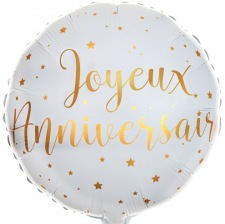Ballon Mylar Joyeux Anniversaire Blanc & Or