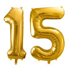 Ballons Chiffre Mylar Aluminium 15 ans Doré