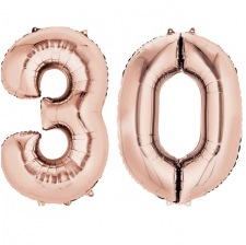Ballons Chiffre Mylar Aluminium 30 ans Rose Gold