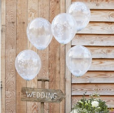 Ballons confettis Blanc (x5)