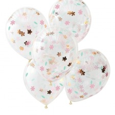 Ballons Confettis Fleur & Rose Gold (x5)