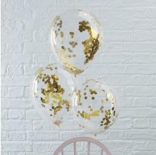 Ballons Confettis Or (x5)