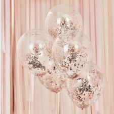Ballons Confettis Pailleté Rose Gold (x5)