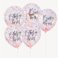 Ballons Confettis Rose Gold Baby Girl (x5)