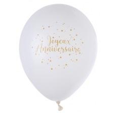 Ballons de baudruche Joyeux Anniversaire Or (x8)