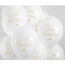 Ballons de baudruche Just Married Blanc & Or (x5)