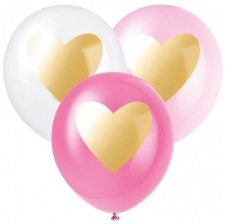 Ballons de baudruche Mix Coeur Rose & Or (x6)