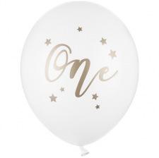 Ballons de baudruche One Blanc & Or (x5)