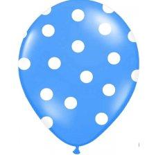 Ballons de baudruche à pois Bleu (x6)