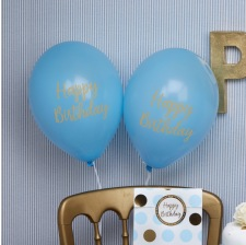 Ballons Happy Birthday Bleu et Or (x4)
