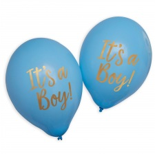 Ballons It's a Boy Bleu et Or (x4)