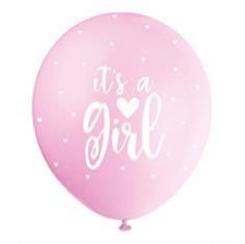 Ballons It's a Girl Nacré Rose Pastel (x5)